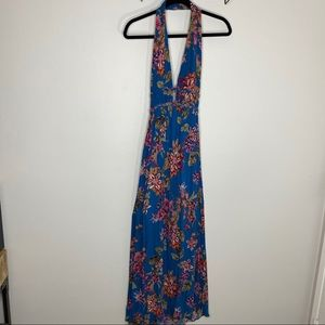 Illa Illa Blue Floral Halter Open Back Maxi Dress